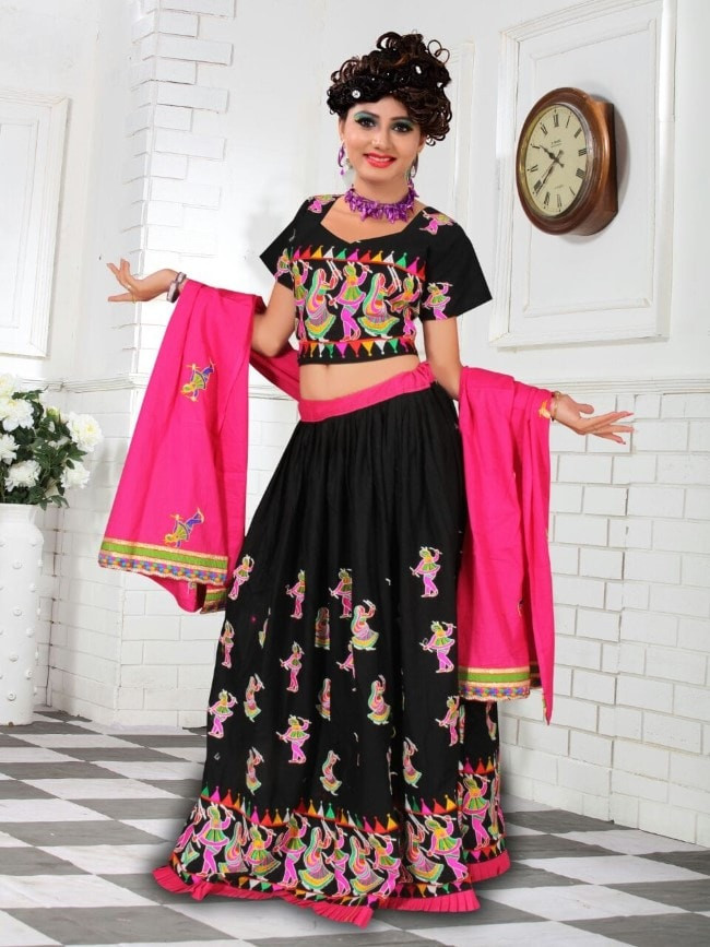 309214486 Black   Pink Cotton Chaniya Choli For Navratri