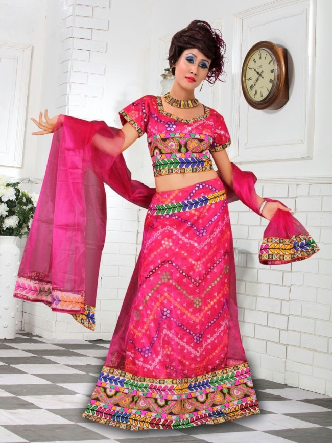Latest Pink Cotton Traditional Chaniya Choli For Navratri