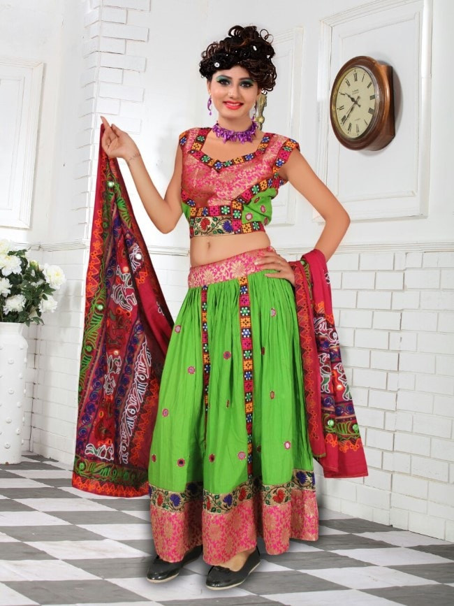Green Cotton Traditional Chaniya Choli For Navratri 2016