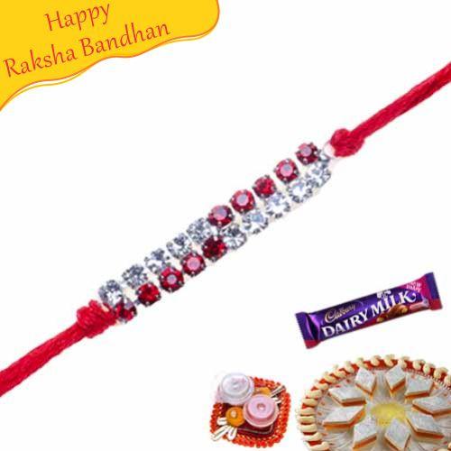 Buy Red Diamond Ad Diamond Rakhi Online On Rakshabandhan