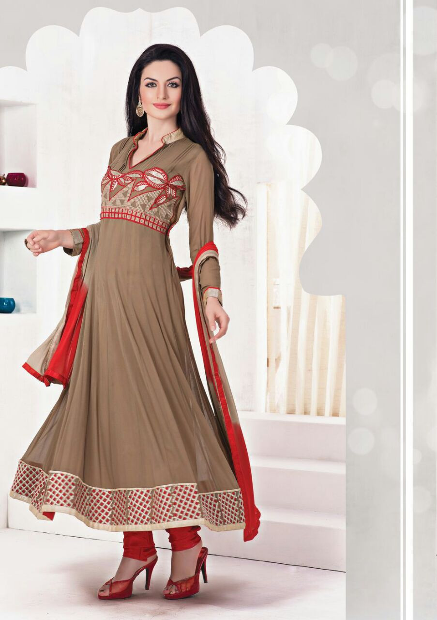 Brown Ethnic Casual Wear Salwar Suits