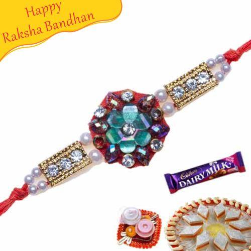 Buy Floral Design Beads Jewelled Rakhi Online On