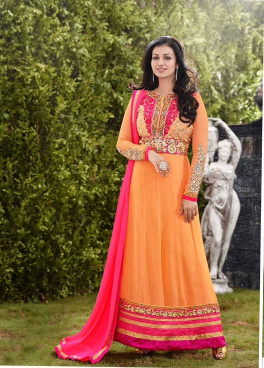 Orange Party Wear Anarkali Long Suits
