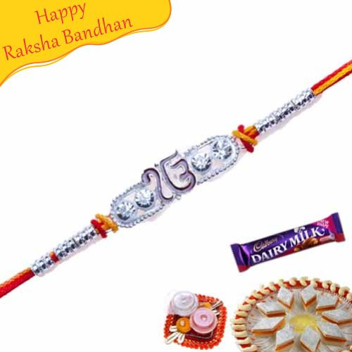 Buy Ek Omkar Silver Jewelled Rakhi Online On Rakshabandhan