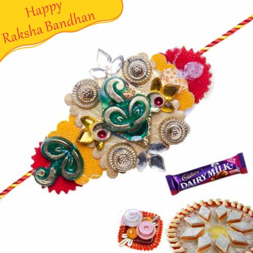 Buy Multicolour Kundan Rakhi Online On Rakshabandhan With