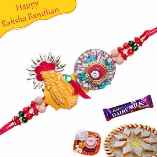 Buy Radhekrishna Fancy Diamond Rakhi Online On