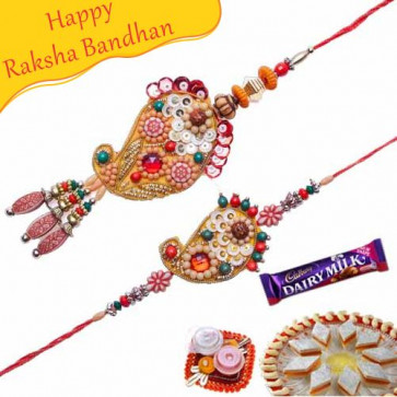 Buy Keri Design Wooden Beads Bhaiya Bhabhi Rakhi Online on Rakshabandhan with India, worldwide delivery options