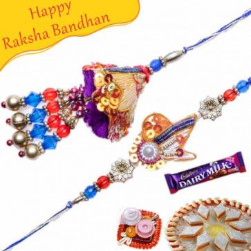 Buy Zardoshi Work Beads, Pearl Bhaiya Bhabhi Rakhi Online on Rakshabandhan with India, worldwide delivery options