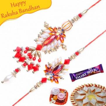 Buy Red, Silver And Copper Beads Bhaiya Bhabhi Rakhi Online on Rakshabandhan with India, worldwide delivery options
