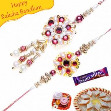 Buy Pearls Bhaiya Bhabhi Rakhi Online on Rakshabandhan with India, worldwide delivery options