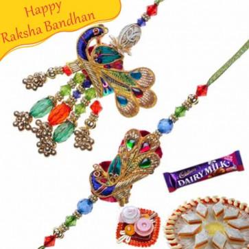 Buy Auspicious Peacock Design Bhaiya Bhabhi Rakhi Online on Rakshabandhan with India, worldwide delivery options