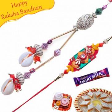 Buy Conch With Colorfull Beads Bhaiya Bhabhi Rakhi Online on Rakshabandhan with India, worldwide delivery options