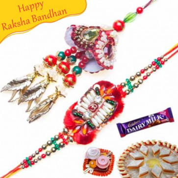 Buy Colorfull Beads Bhaiya Bhabhi Rakhi Online on Rakshabandhan with India, worldwide delivery options