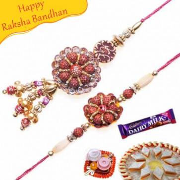Buy Rudraksh Bhaiya Bhabhi Rakhi Online on Rakshabandhan with India, worldwide delivery options