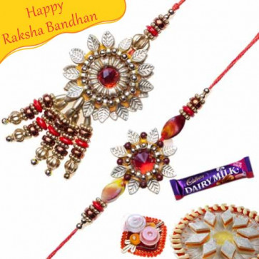Buy Copper Leaf Floral With Crystal Bhaiya Bhabhi Rakhi Online on Rakshabandhan with India, worldwide delivery options