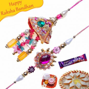 Buy Cone Shape Pearl Crystal Bhaiya Bhabhi Rakhi Online on Rakshabandhan with India, worldwide delivery options