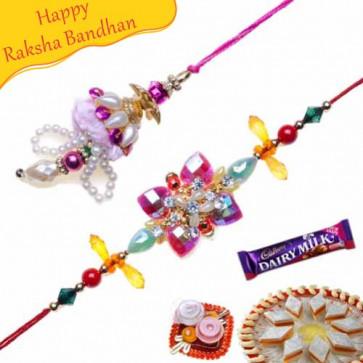 Buy Colorfull Beads Crystal Bhaiya Bhabhi Rakhi Online on Rakshabandhan with India, worldwide delivery options