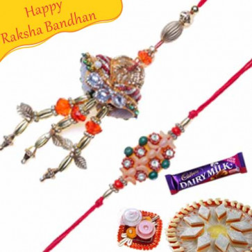 Buy Copper Leaf Diamond Bhaiya Bhabhi Rakhi Online on Rakshabandhan with India, worldwide delivery options