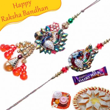Buy Peacock Beads Bhaiya Bhabhi Rakhi Online on Rakshabandhan with India, worldwide delivery options