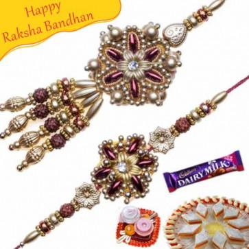 Buy Golden Beds Rudraksh Bhaiya Bhabhi Rakhi Online on Rakshabandhan with India, worldwide delivery options