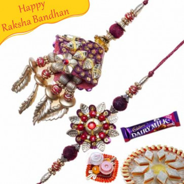 Buy Leaf Rudraksh Bhaiya Bhabhi Rakhi Online on Rakshabandhan with India, worldwide delivery options