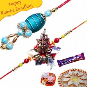 Buy Blue Pearl, Crystal Bhaiya Bhabhi Rakhi Online on Rakshabandhan with India, worldwide delivery options