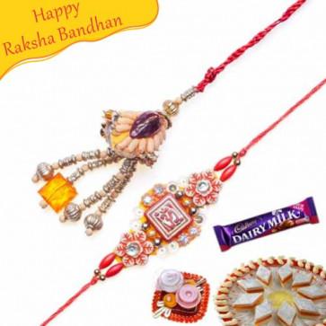 Buy Copper Beads, Om Bhaiya Bhabhi Rakhi Online on Rakshabandhan with India, worldwide delivery options