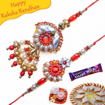 Buy Gold And Pearl Bhaiya Bhabhi Rakhi Online on Rakshabandhan with India, worldwide delivery options