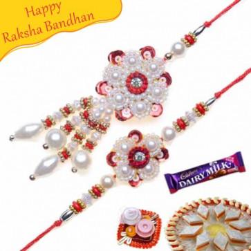 Buy Pearl Bhaiya Bhabhi Rakhi Online on Rakshabandhan with India, worldwide delivery options