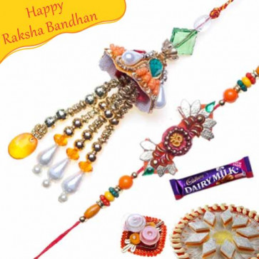 Buy Cone Shape Om Beads Bhaiya Bhabhi Rakhi Online on Rakshabandhan with India, worldwide delivery options