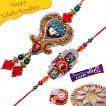 Buy Handcrafted Zardoshi Bhaiya Bhabhi Rakhi Online on Rakshabandhan with India, worldwide delivery options