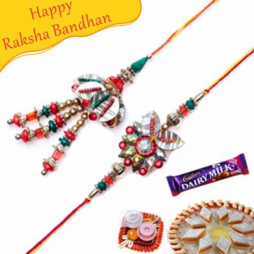Buy Colorfull Beads, Leaf Bhaiya Bhabhi Rakhi Online on Rakshabandhan with India, worldwide delivery options