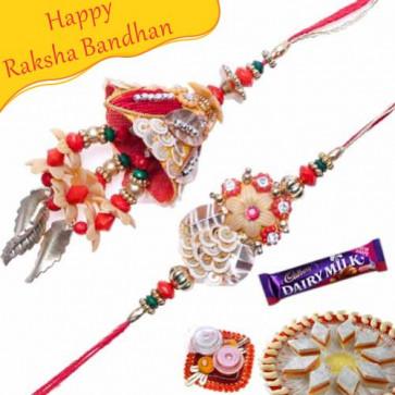 Buy Diamond, Beads Bhaiya Bhabhi Rakhi Online on Rakshabandhan with India, worldwide delivery options
