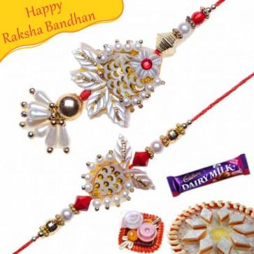 Buy Auspicious Copper Round With Colorfull Beads Bhaiya Bhabhi Rakhi Online on Rakshabandhan with India, worldwide delivery options