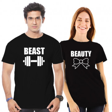 Beauty - Beast Couple Cotton Tshirt Combo Buy Online