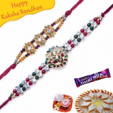 Buy Ganesh Daimond and jewelled pearl rakhi Online on Rakshabandhan with India, worldwide delivery options