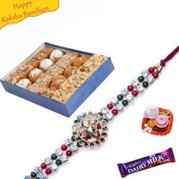 Buy Mix Mithai with Rakhi Online on Rakshabandhan with India, worldwide delivery options