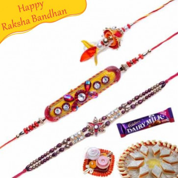Buy OM Diamond and Crystal Beads Rakhis Trio Online on Rakshabandhan with India, worldwide delivery options
