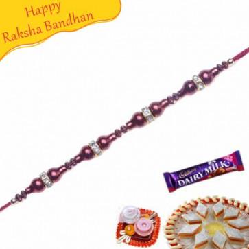 Buy American Diamond Red Beads Bracelet Rakhi Online on Rakshabandhan with India, worldwide delivery options