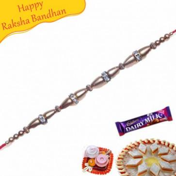 Buy Golden Beads American Diamond Bracelet Rakhi Online on Rakshabandhan with India, worldwide delivery options