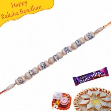 Buy Kundan Diamond Beads Bracelet Rakhi Online on Rakshabandhan with India, worldwide delivery options