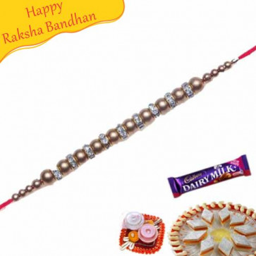 Buy Golden Balls American Diamond Bracelet Rakhi Online On