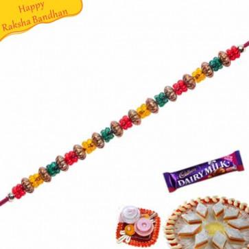 Buy Multicolor Beads Pearl Rakhi Online on Rakshabandhan with India, worldwide delivery options