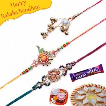 Buy Kalash and Om Diamond Rakhis Trio Online on Rakshabandhan with India, worldwide delivery options