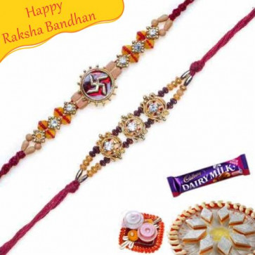Buy Swatik Sandalwood Rakhi and Gold beads Rakhi Online on Rakshabandhan with India, worldwide delivery options