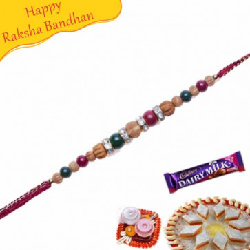 Buy KundanAmerican Diamond Beads Pearl Rakhi Online on Rakshabandhan with India, worldwide delivery options
