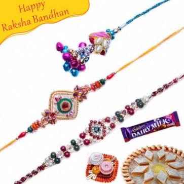 Buy Diamond and Kundan Zardoshi Rakhis Trio Online on Rakshabandhan with India, worldwide delivery options