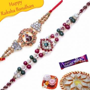 Buy Ganesh Diamond Sandalwood rakhi and Heavy Diamond Rakhi Online on Rakshabandhan with India, worldwide delivery options