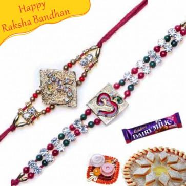 Buy Om Jewelled and Diamond Rakhi Online on Rakshabandhan with India, worldwide delivery options