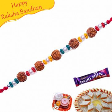 Buy Rudraksh And Crystal Beads Bracelet Rakhi Online on Rakshabandhan with India, worldwide delivery options